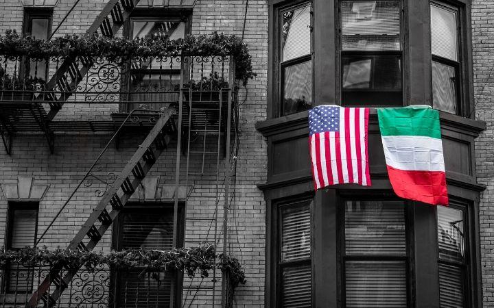 American and Italian flag in NY - The Proud Italian