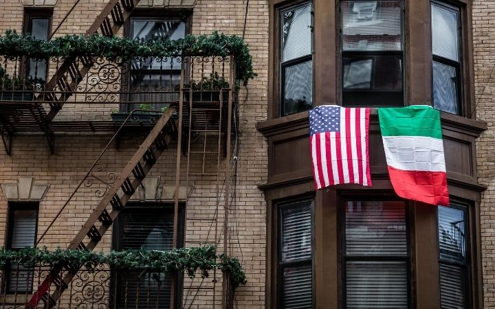 IItalian and American flag in Little Italy, Italian heritage month - The Proud Italian