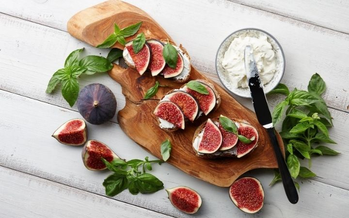 Figs, basil and cream cheese bruschetta, 13 Most Popular Italian Cheeses - The Proud Italian