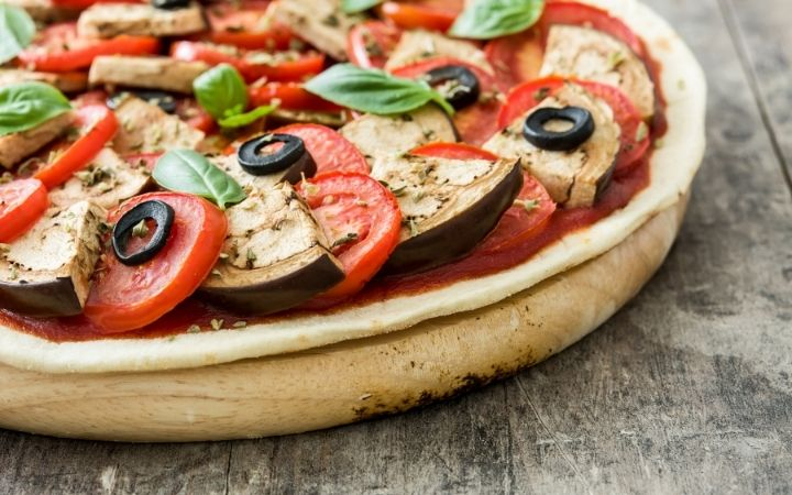 Vegetarian pizza with eggplant, tomato, black olives, oregano and basil, How To Make Italian Seasoning - The Proud Italian