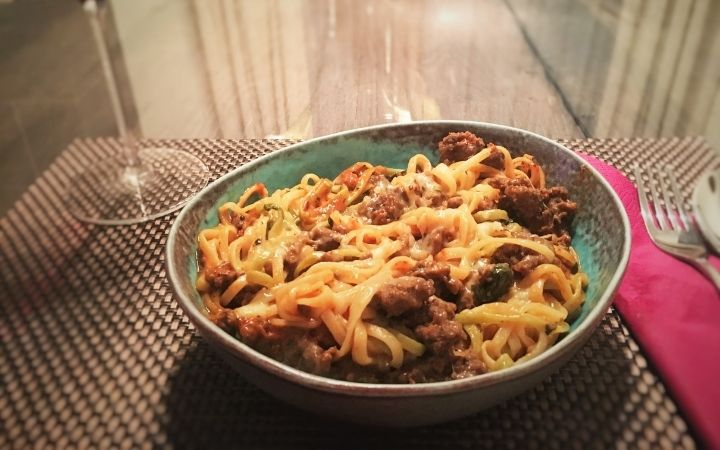 Fresh Pasta withSausage and Beef Bolognese Sauce, Top-Rated Italian Chefs - The Proud Italian