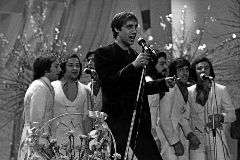 Adriano Celentano Singing On Stage,