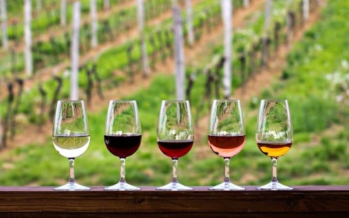 Glasses with red, pink and white wine - The Proud Italian