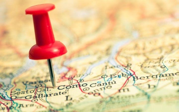 Thumbtack on Como city on map, Lake Como – A Lombardy Vacation Spot - The Proud Italian