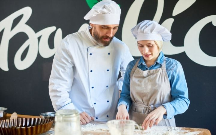 Chef learning student how to make dough,cooking school Italy - The Proud Italian