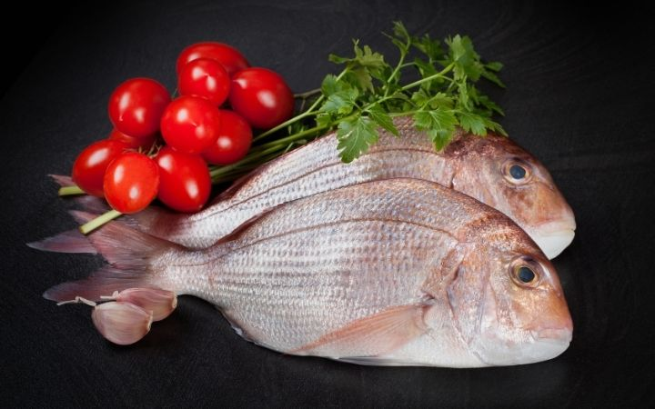 A couple of fished Dentex fishes on the table with cherry tomatoes and parsley beside them - The Proud Italian