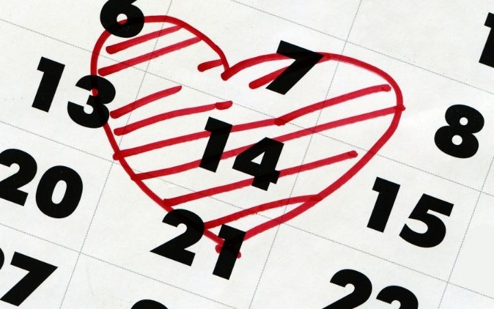 St. Valentines day marked in calendar with heart-shaped mark - The Proud Italian