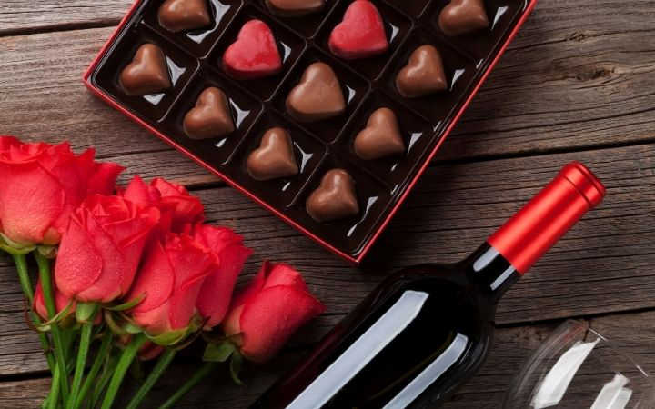 Chocolate candies, roses and a bottle of wine is modern way of celebrating Valentine's day in Italy - The Proud Italian