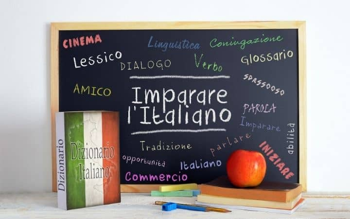 Learning Italian with dictionary, board and notebook - The Proud Italian