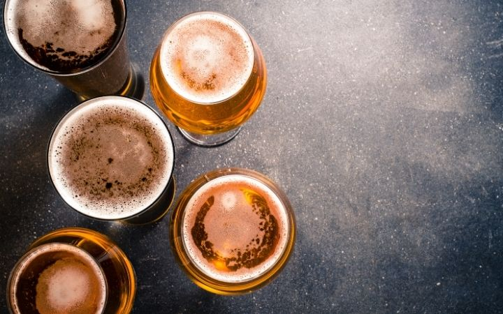 Overview of glasses of beer - The Proud Italian