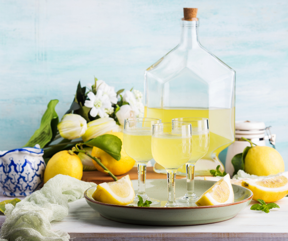 tray of limoncello and glasses