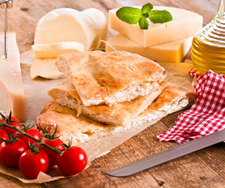 Italian bread and cheese platter