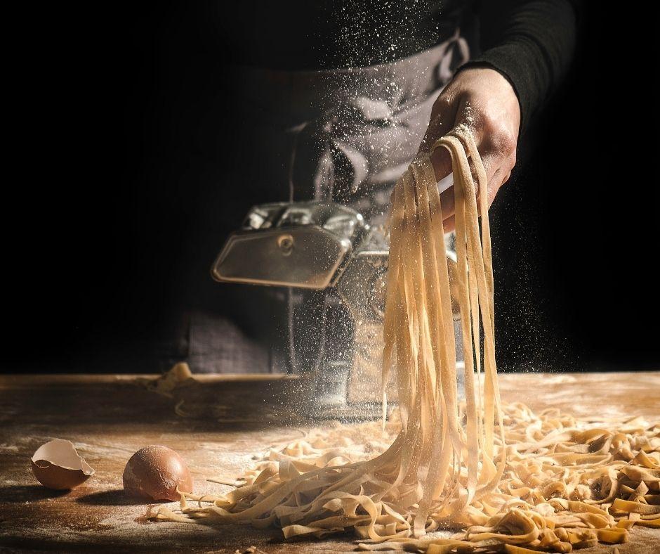 fresh pasta being prepared