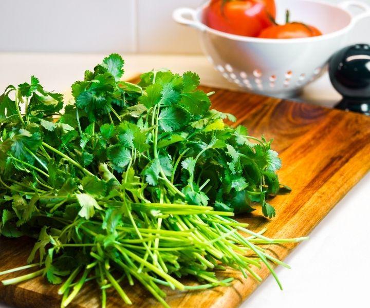 cilantro on a cutting board