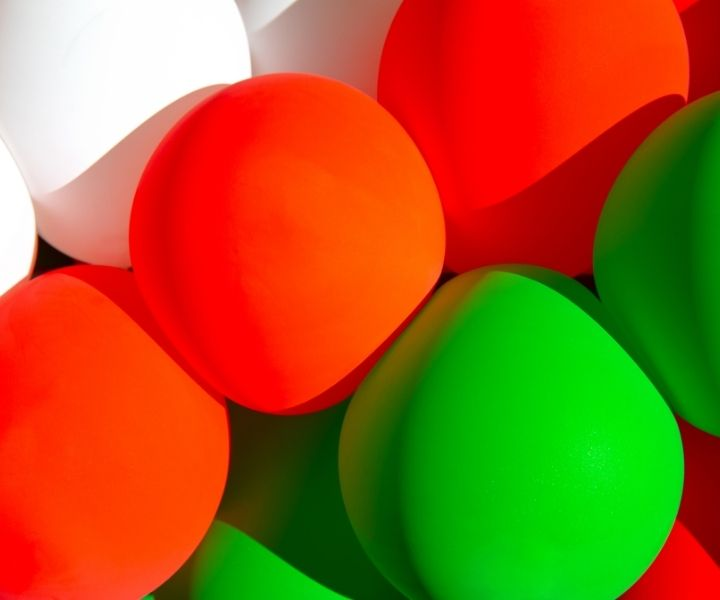 white, red and green balloons